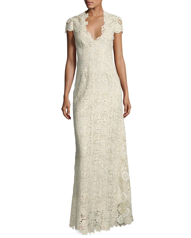 Elie Tahari Cap-Sleeve Metallic Lace Column Gown, White/Gold ...