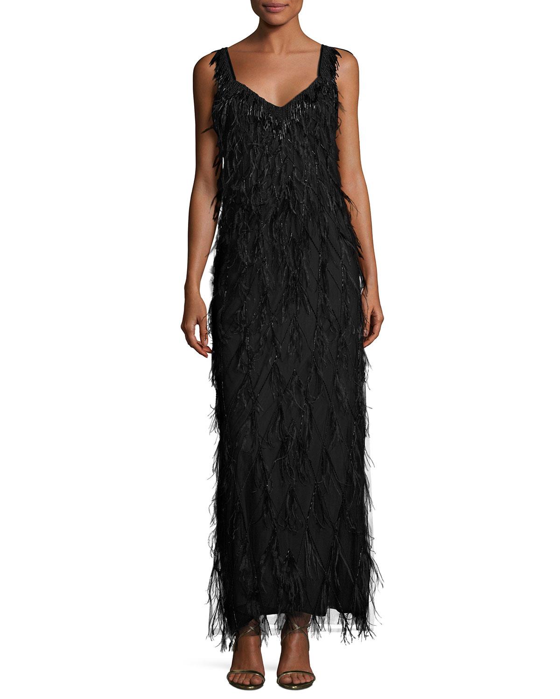 7c75538737c6 Elie Tahari Sleeveless Beaded Feather Column Gown, Black   Neiman Marcus