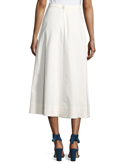 Candy Button Flared Midi Skirt, White