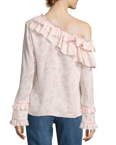 Floral Off-the-Shoulder Silk Ruffle Shirt, Pink