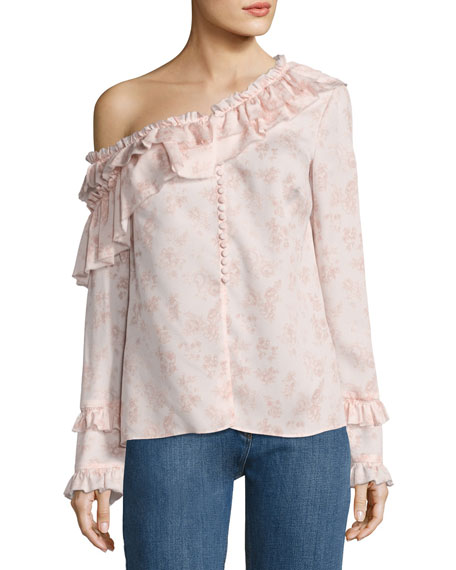 Magda Butrym Floral Off-the-Shoulder Silk Ruffle Shirt, Pink