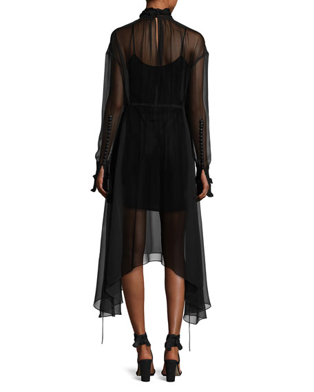 Aviles High-Neck Sheer Handkerchief-Hem Midi Dress, Black