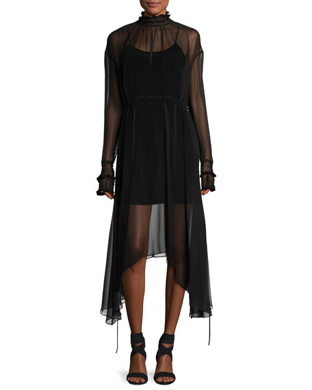 Magda Butrym Aviles High-Neck Sheer Handkerchief-Hem Midi Dress,