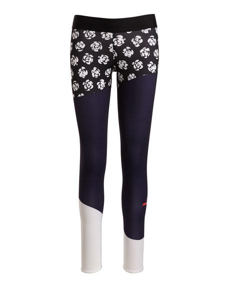 Run Climalite Printed Performance  Leggings, Black Pattern