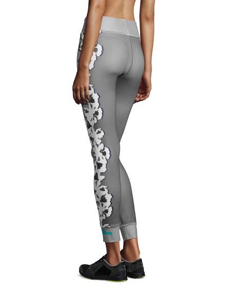 Yoga Floral-Print Leggings, Ice Gray/Granite