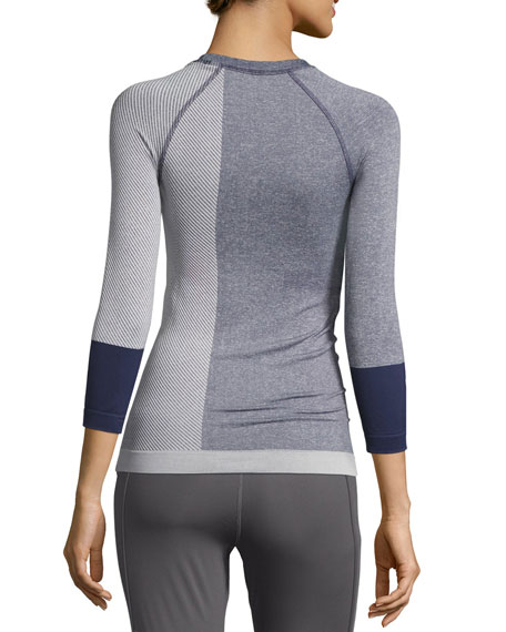 Yoga Seamless 3/4-Sleeve Top, Noble Ink/White