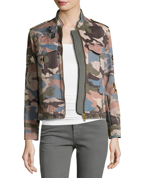 Zadig & Voltaire Kavy Embroidered Camo Utility Jacket,
