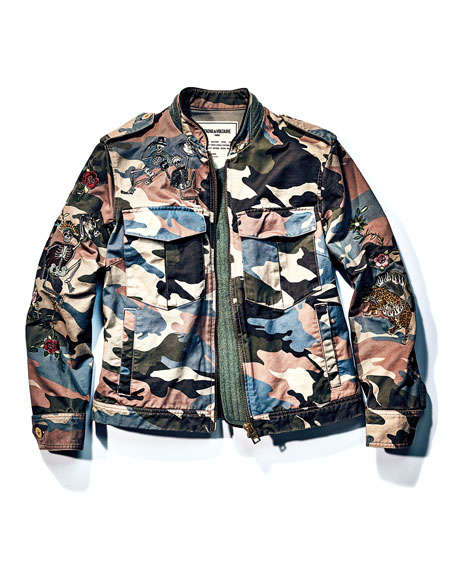 Kavy Embroidered Camo Utility Jacket, Multicolor