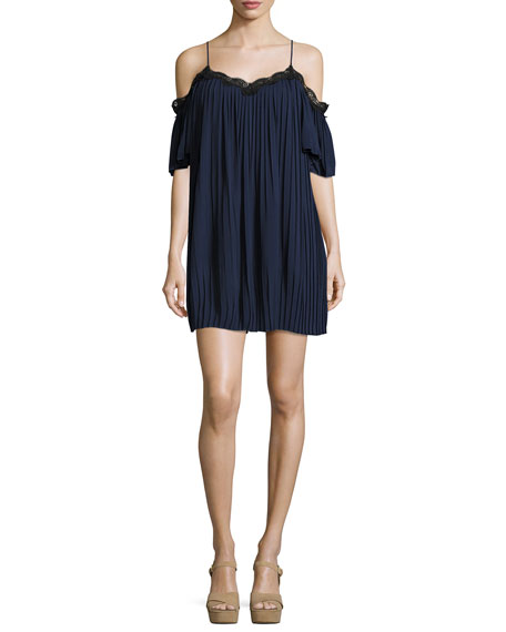 Alice + Olivia Mimi Cold-Shoulder Pleated Mini Dress,
