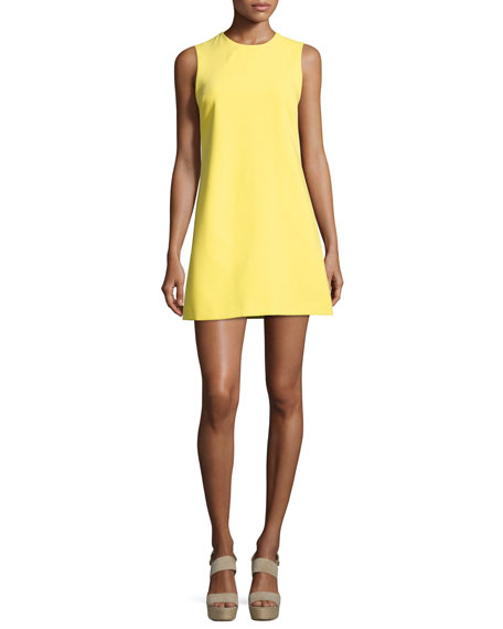 Coley Crewneck A-Line Dress, Yellow