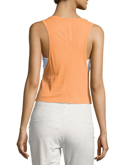 Air Ribbed Workout Tank Top, Orange