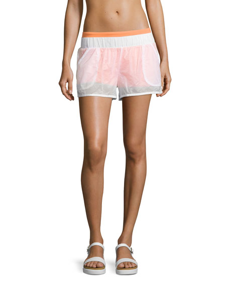 Alo Yoga Transparent Running Shorts, White/Sherbet Orange