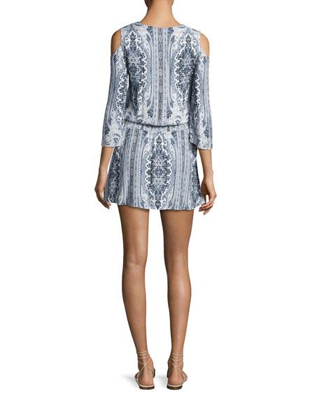 Jolene Cold-Shoulder Smocked-Waist Dress, Multi