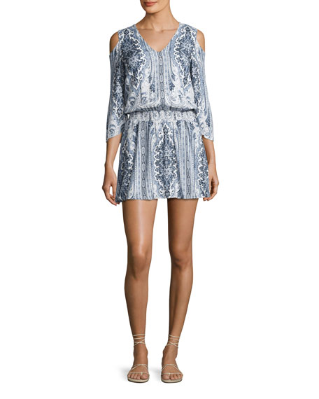 Alice + Olivia Jolene Cold-Shoulder Smocked-Waist Dress, Multi