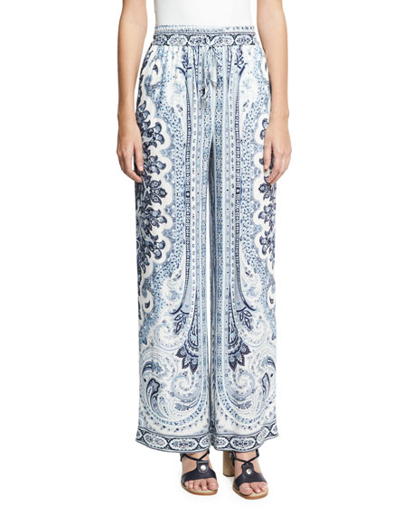 Benny Paisley Drawstring-Waist Pants, Blue Multicolor