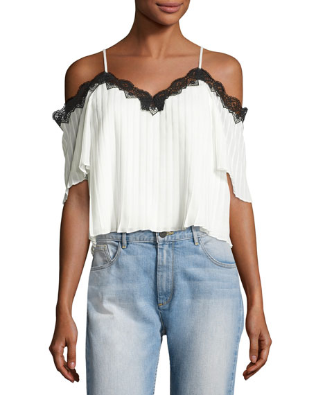 Alice + Olivia Fefe Cold-Shoulder Lace-Trim Pleated Blouse,