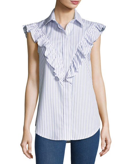 Striped Frill-Yoke Shirt, Navy