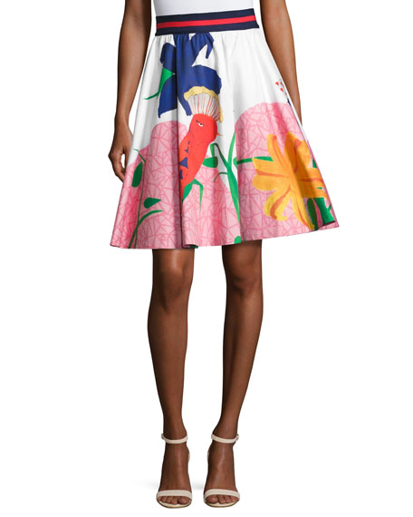 Alice + Olivia Earla High-Waist Flare Skirt, Multi