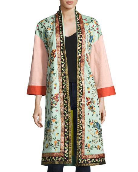 Alice olivia amelia oversized embroidered coat multi