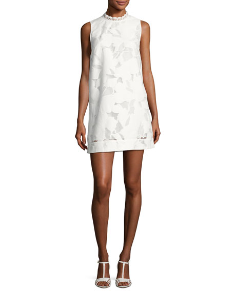 French Connection Deka Lace Embroidered Mini Dress, White