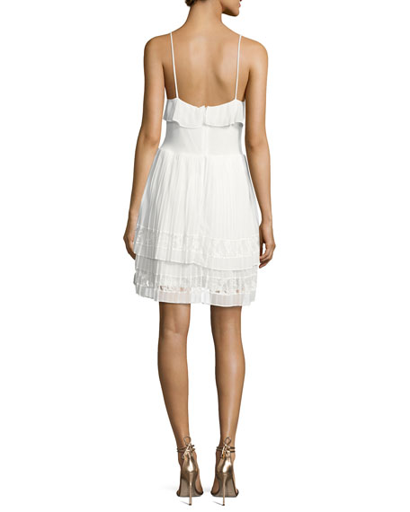 Adanna Pleated Lace Jersey Dress, White