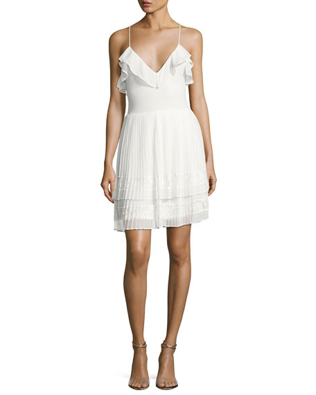 French Connection Adanna Pleated Lace Jersey Dress, White
