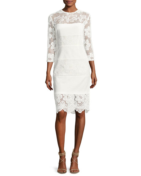 Divertida 3/4-Sleeve Floral Mesh Cocktail Dress, White