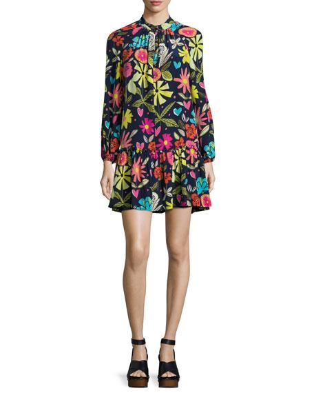 Trina Turk Corozone Long-Sleeve Floral Silk Shift Dress,