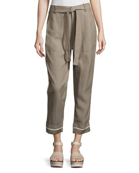 Derek Lam 10 Crosby Drawstring Wide-Cuff Utility Pants,