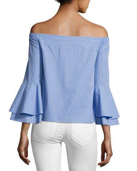 Arabelle Off-the-Shoulder Cotton Top, Blue