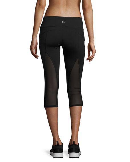 Equalize Mesh-Inset Capri Sport Leggings, Black