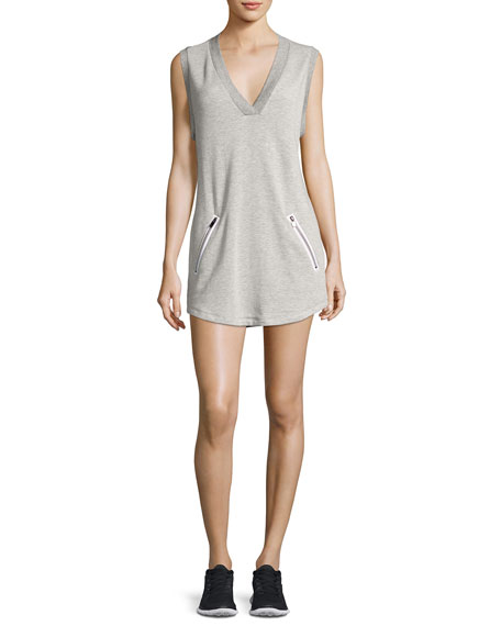Heroine Sport Sweat V-Neck Sleeveless Athletic Dress, Gray