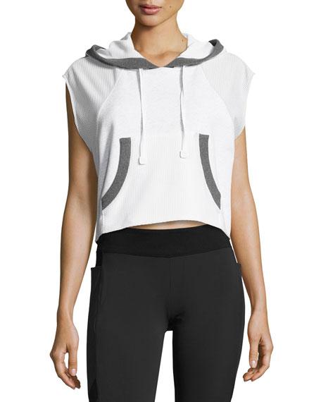 Blanc Noir Cap-Sleeve Mesh Crop Pullover Hoodie, White/Gray