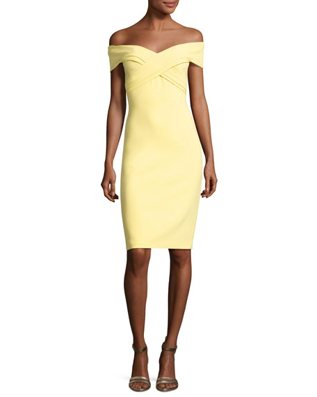 Theia Off-the-Shoulder Sweetheart Cocktail Dress, Yellow