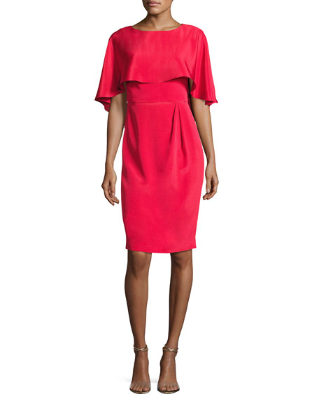 Cape-Sleeve Stretch Silk Cocktail Dress, Red