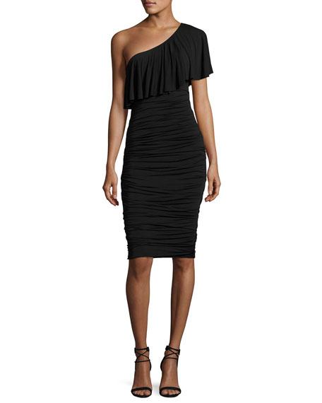 Bailey 44 Barbados One-Shoulder Ruched Cocktail Dress, Black