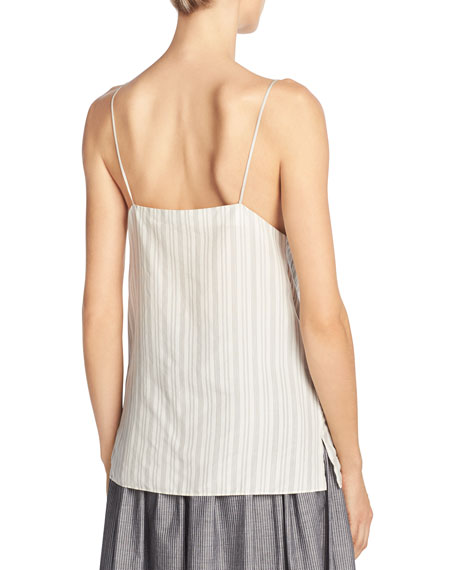 Monotone Striped Silk V-Neck Camisole, Off-White/Black