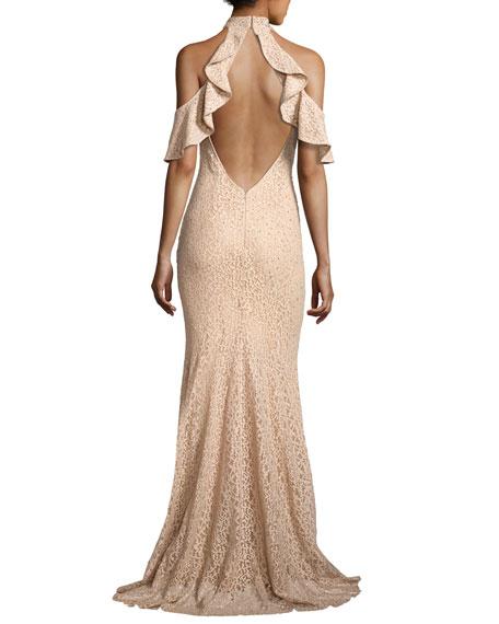 Cold-Shoulder Embellished Lace Evening Gown, Champagne