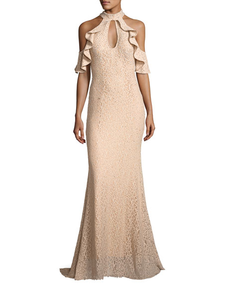 Jovani Cold-Shoulder Embellished Lace Evening Gown, Champagne