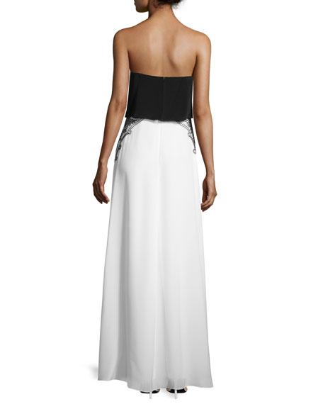 Gigi Sleeveless Embroidered Silk Colorblock Gown, Black/White