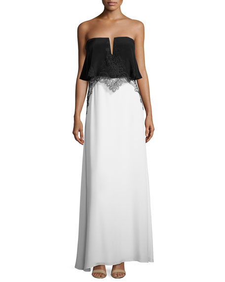 Kobi Halperin Gigi Sleeveless Embroidered Silk Colorblock Gown,