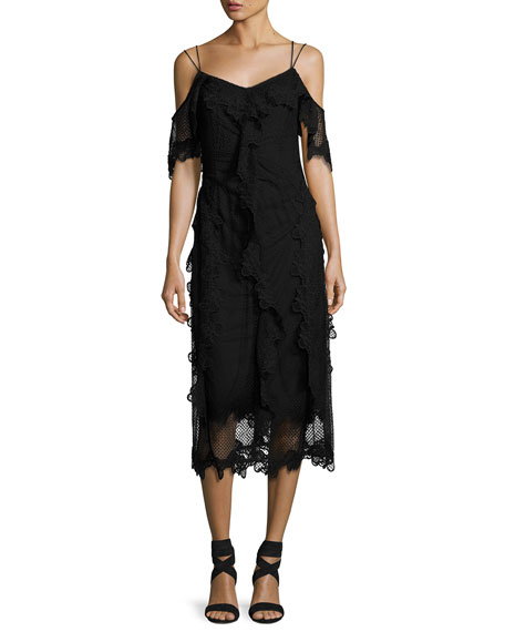 Kobi Halperin Lucinda Cold-Shoulder Ruffle Lace Sheath Dress,