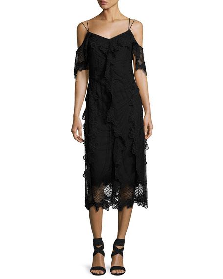 Kobi Halperin Lucinda Cold-Shoulder Ruffle Lace Sheath Dress,