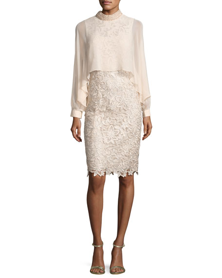 Rickie Freeman for Teri Jon Long-Sleeve Floral Lace