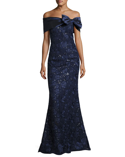 Off-the-Shoulder Embroidered Mermaid Gown, Navy