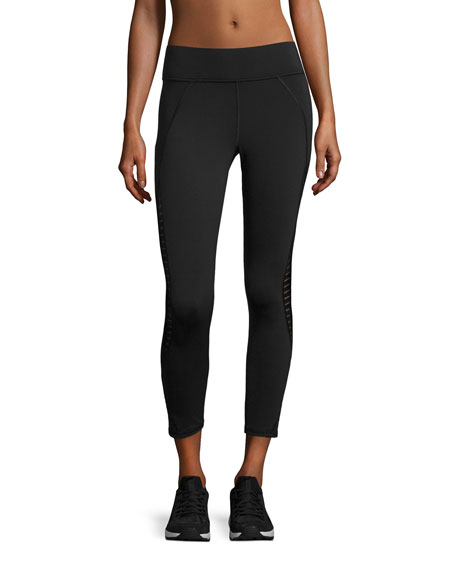 Michi Medusa Stripe Crop Performance Legging, Black