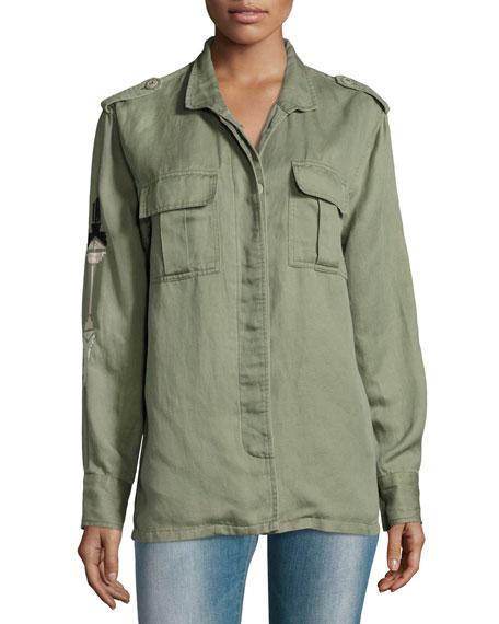 Elliott Embroidered Utility Jacket, Sage