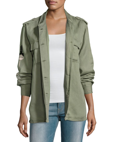 Elliott Embroidered Utility Jacket, Sage