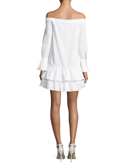 Aiyana Off-the-Shoulder Twill Mini Dress, White