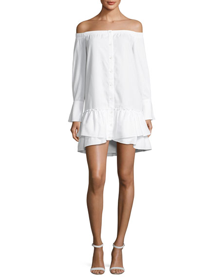 BCBGMAXAZRIA Aiyana Off-the-Shoulder Twill Mini Dress, White